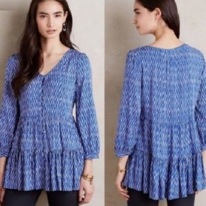 Anthropologie Maeve Lila Blue Tiered Tunic Top